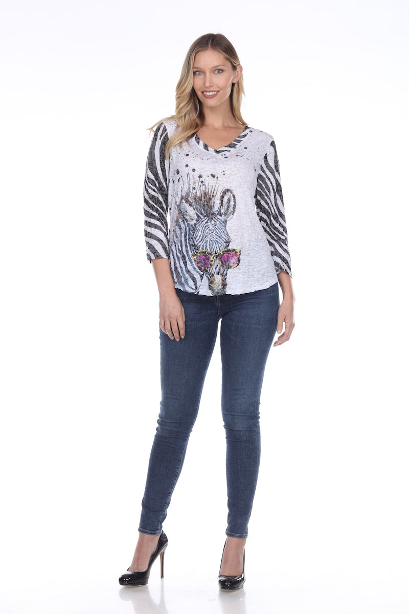 V-Neck Top - Cool Zebra - CARINE