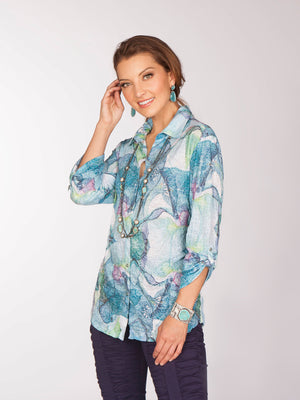 Sabrina Shirt -  Aqua Fields - CARINE