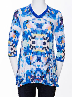 Jackie Top - Blue Honeycomb - CARINE