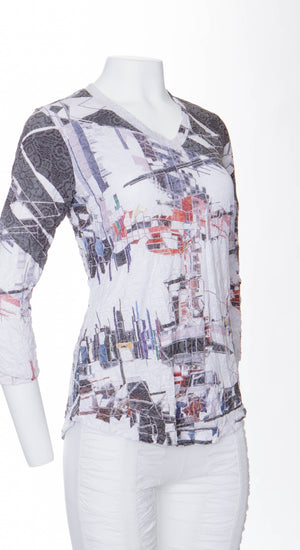V-Neck Top Abstract Street - CARINE