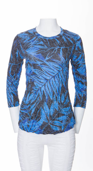 Round-Neck Top Blue Palm - CARINE