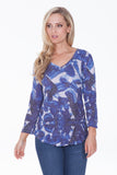 V-Neck Top - Blue Brush - CARINE