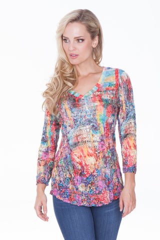 V-Neck Top - Multi City - CARINE