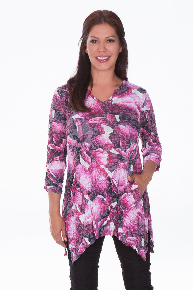 Two Pocket Tunic - Fuchsia Splash - CARINE
