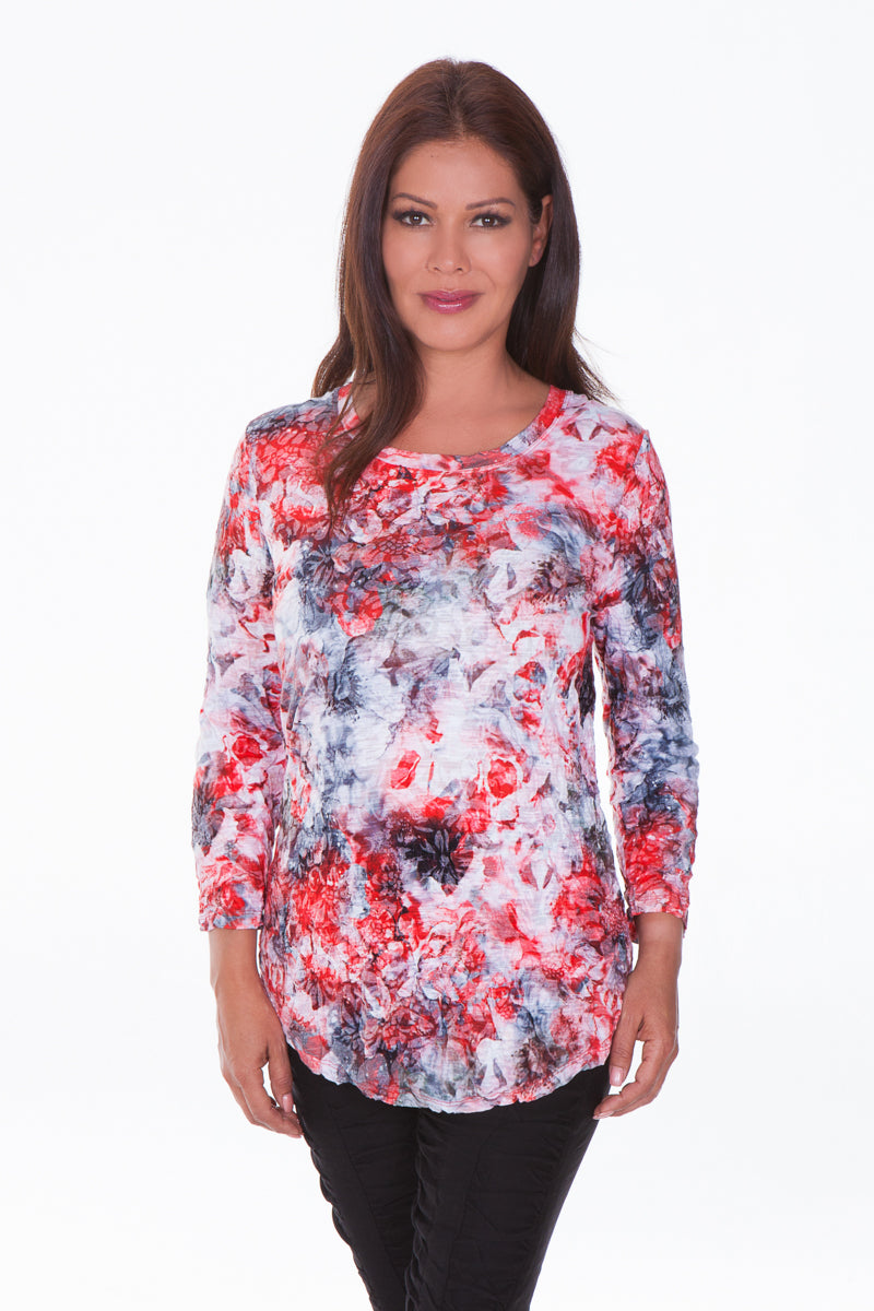 Round Neck Top - Red Impression - CARINE