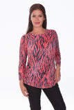 Round Neck Top - Red Jungle - CARINE