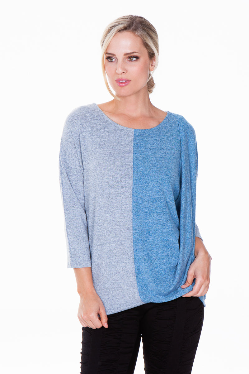 Susanne Top - Split Blue - CARINE