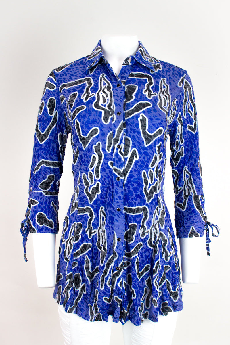 Selena Tunic with Sleeve Tie Detail - Blue Abstract - CARINE
