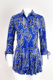 Selena Tunic with Sleeve Tie Detail - Blue Abstract