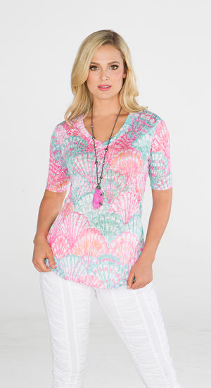 V-Neck Top Shell Abstract - Short Sleeve