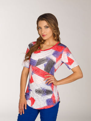 V-Neck - Pink Abstract - Short Sleeve - CARINE