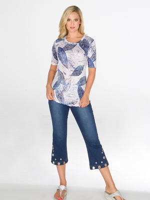 Round-Neck - Indigo Leaves - Short Sleeve - CARINE