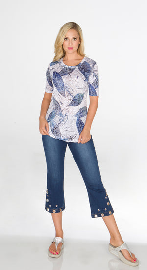 Round-Neck Indigo Leaves - Short Sleeve - CARINE
