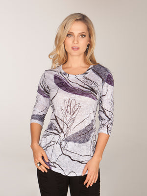 Round-Neck Top - Steel Forest - CARINE