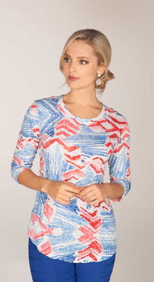 Round-Neck Top Stars and Stripes - CARINE