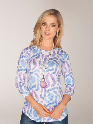 Round-Neck Top Ink Swirl - CARINE