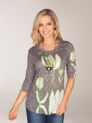 Round-Neck Top Gray Tulips - CARINE