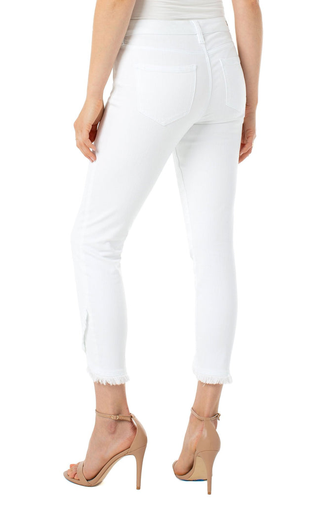 Abby Crop Scallop Pant - White