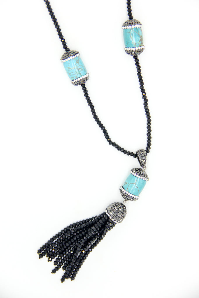 Black Beaded Necklace w/ Turquoise Stones and Tassel