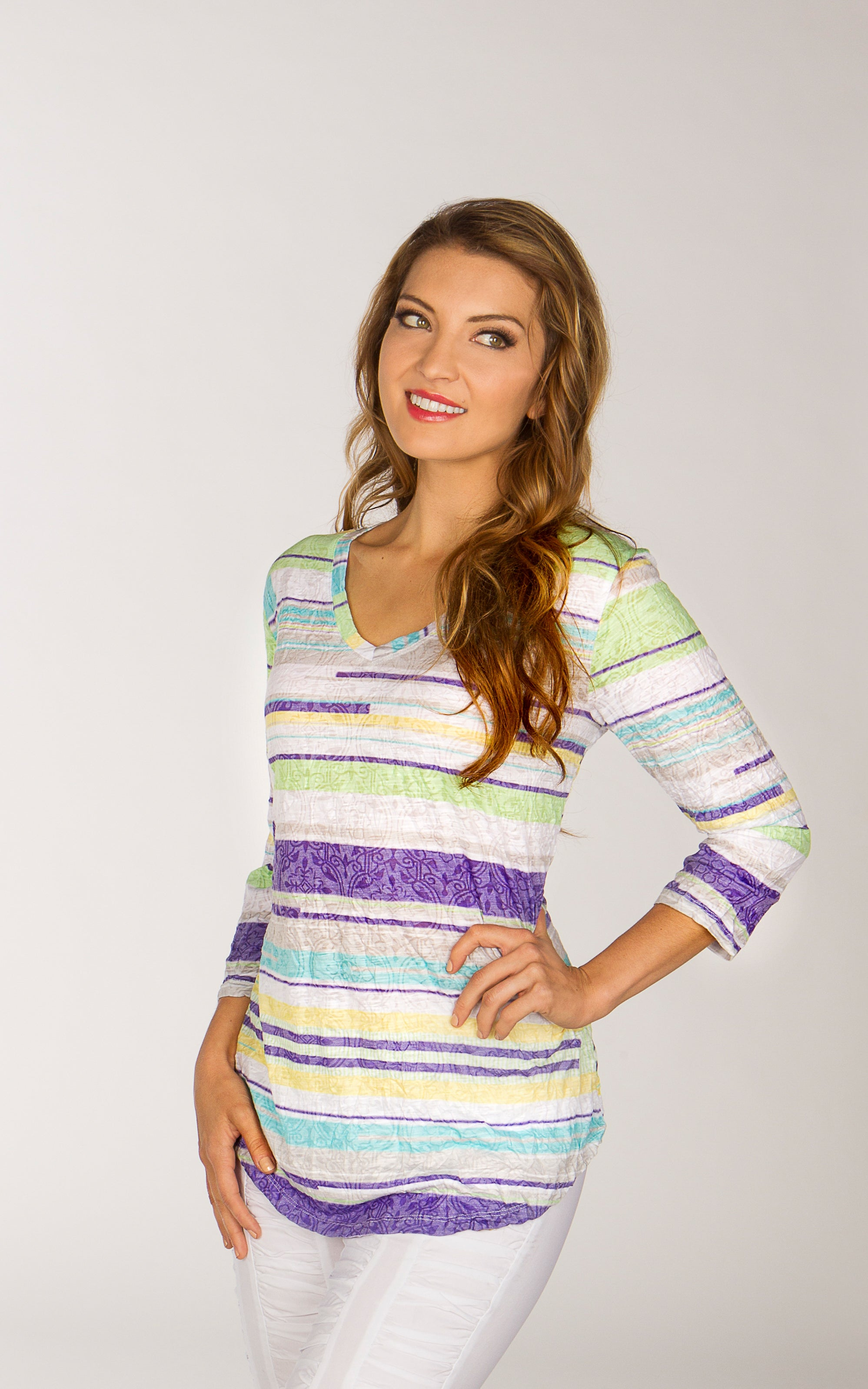 V-Neck Top - Lime Stripe - CARINE