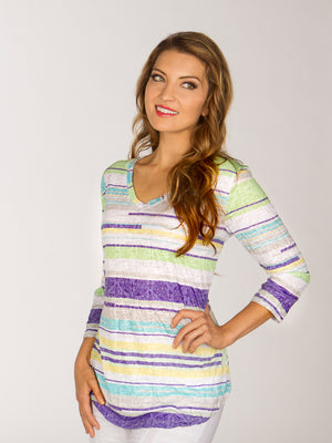 V-Neck - Lime Stripe - CARINE
