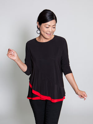Top - Black/Red - CARINE
