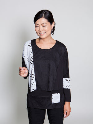 Top - Black w/ White Accent - CARINE