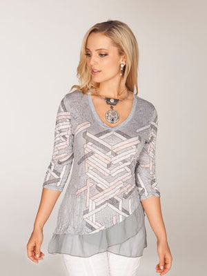 Bella Tunic - Gray Abstract - CARINE