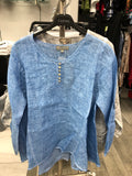 3/4 Sleeve Button Top - Denim