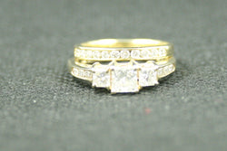 1.14TCW 3 ROUND PRINCESS CUT DIAMOND AND ROUND DIAMOND WEDDING SET