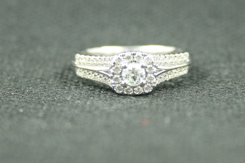 0.40 TCW ROUD DIAMOND HALO DOUBLE SHANK ENGAGEMENT RING