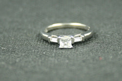 0.50 TCW PRINCESS CUT AND BAGUETTE DIAMOND ENGAGEMENT RING