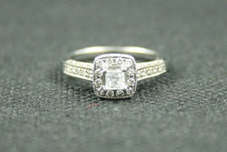 0.53 TCW PRINCESS AND ROUND HALO STYLE ENGAGEMENT RING