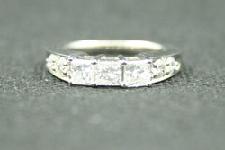 1.25 TCW PRINCESS THREE STONE WITH ROUND DIAMOND ENGAGEMENT RING