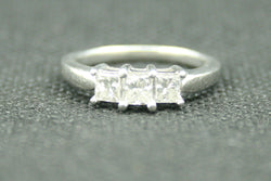 1 TCW PRINCESSS CUT THREE STONE ENGAGEMENT RING