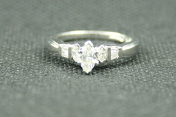 0.58 TCW MARQUISE AND BAGUETT DIAMOND PLATINUM ENGAGEMENT RING