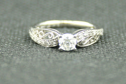 0.46 TCW ROUND DIAMOND DECORATIVE MILGRAIN ENGAGEMENT RING