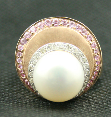 14K TWO-TONE GOLD LARGE PEARL WITH ROUND DIAMOND AND PINK SAPPHIRE RING