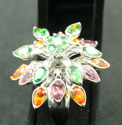 14K WHITE GOLD 4.33 TCW MULTI COLOR GARNET AND WHITE DIAMOND FREE MOVING RING