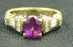 18K YELLOW GOLD 2.48CT OVAL PINK SAPPHIRE AND ROUND WHITE DIAMOND RING