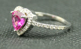 14K WHITE GOLD HEART SHAPED PINK SAPPHIRE AND ROUND DIAMOND HALO STYLE RING