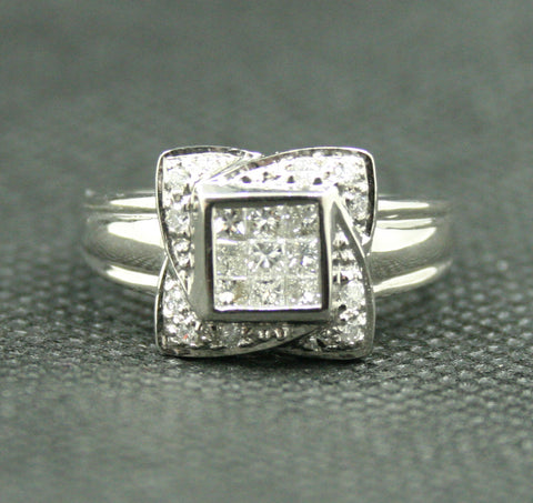14K WHITE GOLD PRINCE CUT ILLUSION SET WITH ROUND DIAMOND CLUSTER STYLE RING