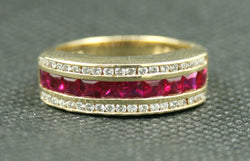 18K PRINCESS CUT RUBY AND ROUND DIAMOND CHANNEL SET BAND