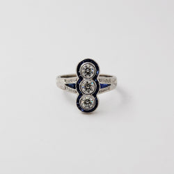 Deco Inspired Sapphire and Diamond Ring