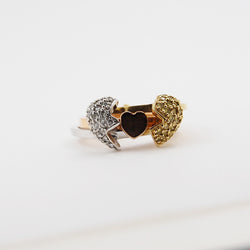 14k Modern Tri Color Heart Shaped Gimmel Ring - White, Yellow, and Rose Gold