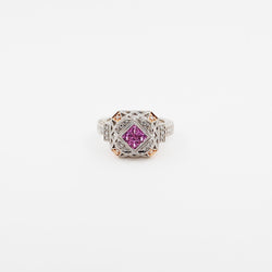 Invisible Set Pink Sapphire and Diamond White and Rose Gold Ring