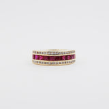 18ky Ruby and Diamond Channel Set Band