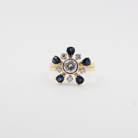 Star Flower Design Sapphire and Diamond Ring