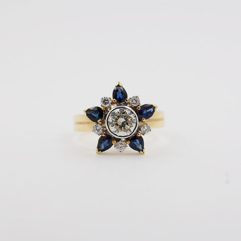 Celestial Star Design Diamond and Sapphire Ring
