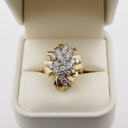 Art Nouveau Inspired Diamond Cluster Ribbon Ring